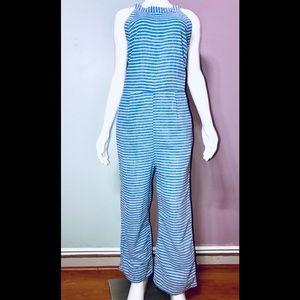 Blue Striped Cotton Jumpsuit w/tie / size (S) NWOT